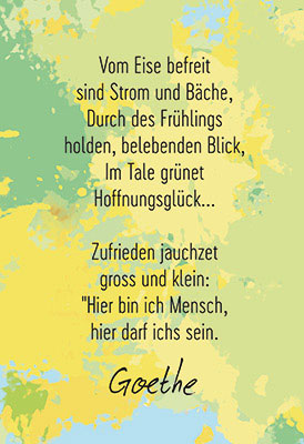 Aquarell Gelb Grun Mit Goethe Text